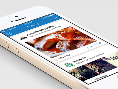 Placeley Activity Feed ios7 iphone app mobile ui ux cards social places activity feed