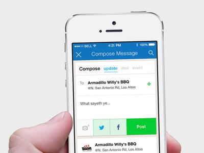 Placeley Compose Message ui ux social app iphone mobile compose post message ios7 places