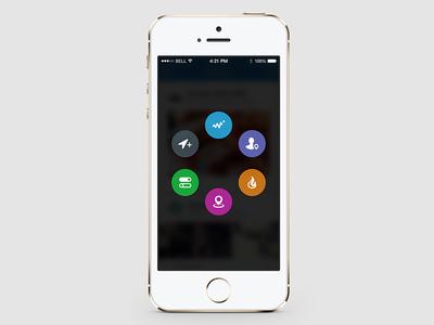 Placeley Icon Reveal Menu ui ux social app iphone mobile menu icons navigation ios7 places