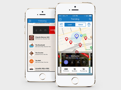 Placeley Map & List ui ux social app iphone mobile list map ios7 places trending following