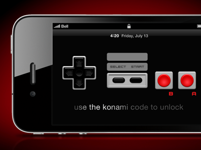 iPhone Konami Unlock iphone concept app ui ux nintendo unlock