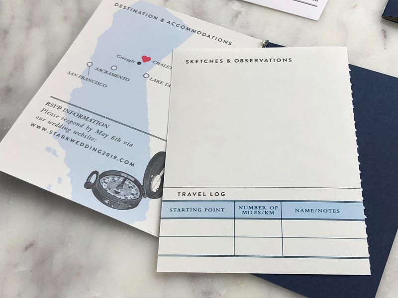 Trevor & Layal Wedding Invitations design branding sierra nevada field guide wedding invitation