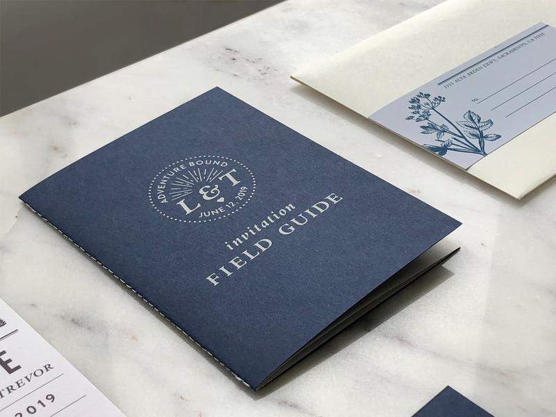 Trevor & Layal Wedding Invitation Cover sierra nevada branding field guide silkscreen wedding invitation
