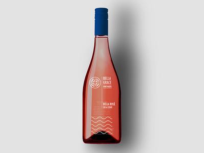 Bella Grace Estate Rosé Opt C wine label label foothills winery rosé rose wine waves poolside