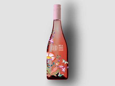 Bg Rose Burgundy Option A wine label rosé rose california wine springtime foothills label wine