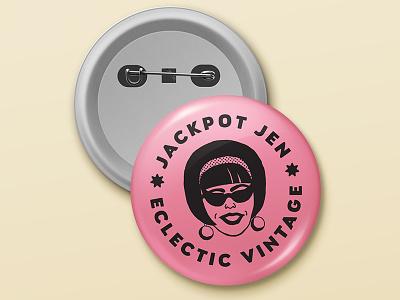 Jackpot Jen Buttons vintage retro badge buttons branding