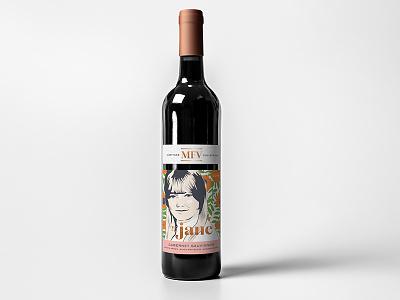 The Jane Cabernet wine label illustration branding