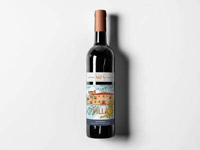 The Villa Barbera illustration branding foothills winery wine label label