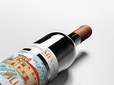The Villa Barbera label sierra nevada illustration branding winery wine label