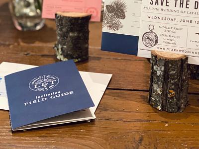 Trevor & Layal Wedding Detail field guide stamp wedding invite invitations wedding