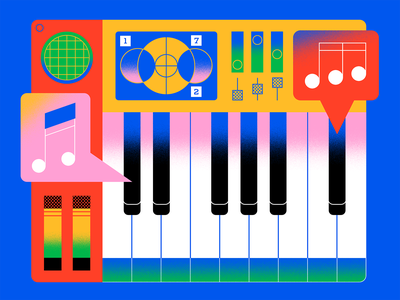 Keyboard device electronics piano midi controller midi music keyboards geometric abstract texture retro gradient flat colorful vector illustration graphic design