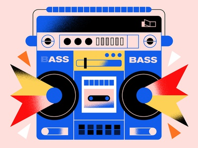Boombox playful portable radio radio cassette ghettoblaster audio bass speakers speaker boombox texture retro geometric design colorful abstract flat  design vector illustration graphic design