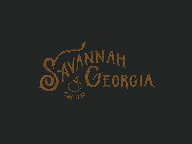 Savannah, Georgia southern scad 1733 established peach georgia savannah illustrated type design hand lettering