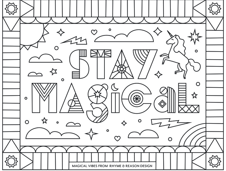 Stay Magical Coloring Sheet type pattern illustration typography coronavirus unicorn magic magical quote page book sheet coloring