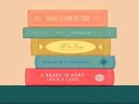 5 Key Things storytime reading bookshelf sharing education nonprofit rebranding knowledge learning books typography illustration