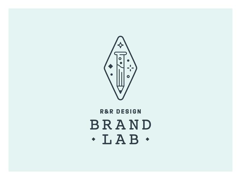 R&R Brand Lab pattern badge typography experiment line art illustration design sparkle test tube pencil vial science webinar identity logo branding lab brand