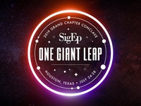 SigEp One Giant Leap seal sigep conclave event conference space houston identity badge greek design typography logo branding type