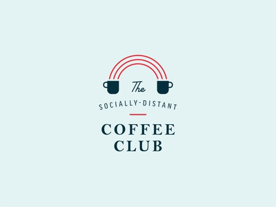 Socially-Distant Coffee Club typography logo badge coronavirus loyalty card punch card mug branding quarantine covid social distancing club coffee