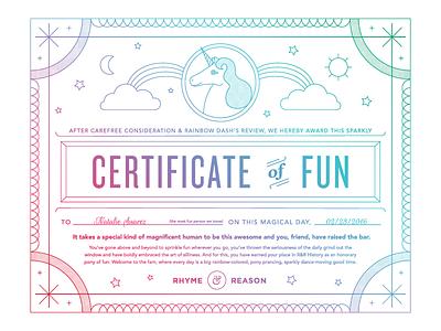 Certificate of Fun rainbow sparkles unicorn magnificent fun award certificate