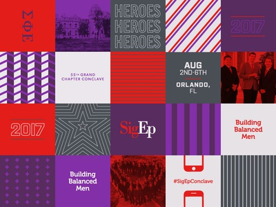 SigEp Grand Conclave Brand heroes conference fraternity greek patterns event branding branding logo
