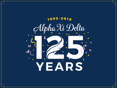 Alpha Xi Delta Founders Day feathrer celebration confetti founders day anniversary typography logo sorority fraternity greek