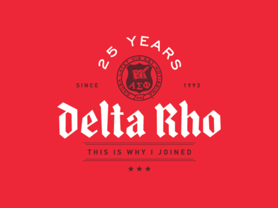 Alpha Sigma Phi – Delta Rho 25th Anniversary typography blackletter seal branding logo milestone greek fraternity chapter anniversary 25 years