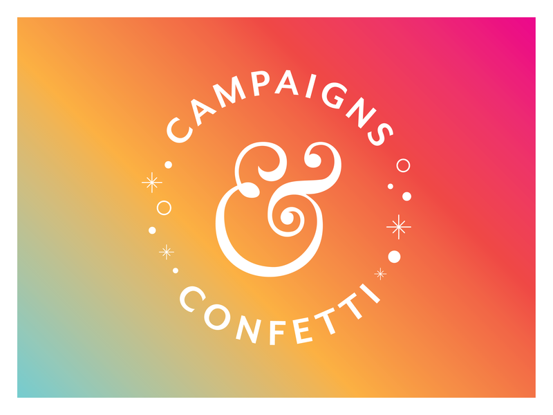 Campaigns & Confetti Podcast ampersand type seal gradient sparkle confetti campaigns podcast badge typography branding logo