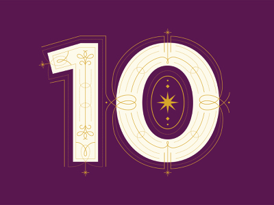 R&R 10-Year Anniversary branding lettering dropcap type filigree typography logo anniversary ten