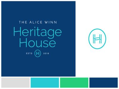 Heritage House housing design mono-line monogram badge identity type typography branding logo