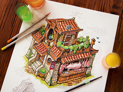 Tiny House illustration sketch paper pencil color cute tiny small house concept plan building shop stone meat wood game