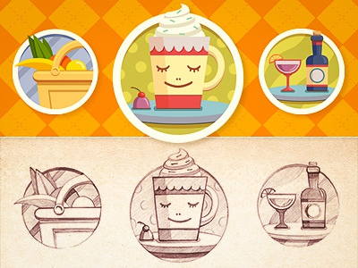 Icons icons pattern fruit basket sweet texture sketch paper color dot retro cafe bottle glass cup coffee bar drink