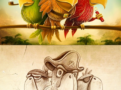 Team :) illustration sketch concept mood characters bird parrot tobacco pipe pirate hat dynamite forest jungle wood tree feather texture
