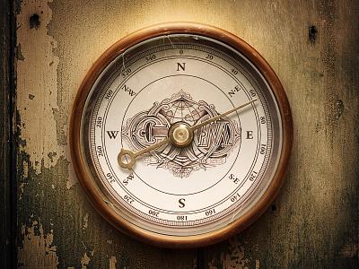 Compass compass copper grunge rusty illustration sketch wall texture shadow light glow reflex glass skratch metal wood atmosphere