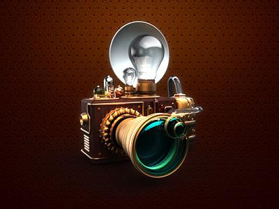 Steampunk camera icon web 3d illustration texture button camera steampunk