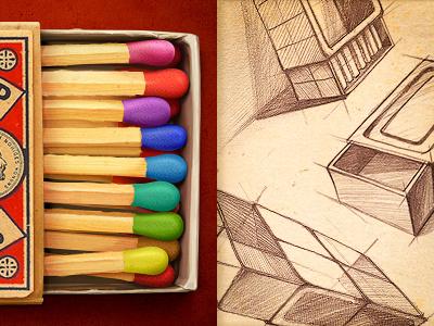 Matchbox illustration sketch texture paper old vintage matchbox color wood box concept