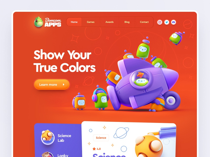 Bomcom Apps / Web site design 3d character neumorphism ux ui flat sketch vector logo metal game illustration web icon design