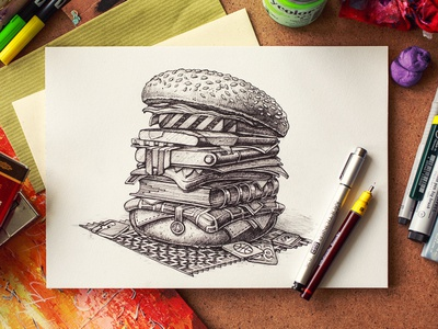 Hamburger illustration sketch texture paper color ios marker pencil pen ink food bread meal map notepad player iphone icon dribbble hamburger layer tasty