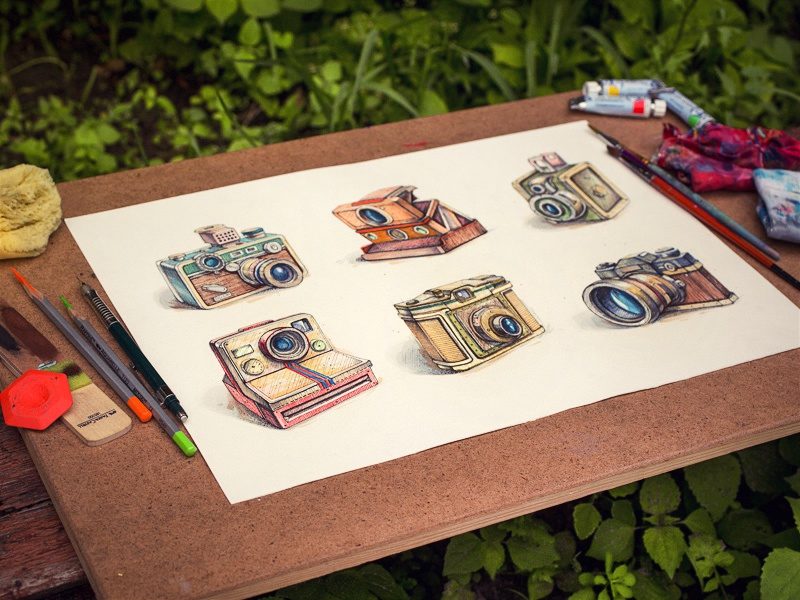 Vintage illustration sketch icon texture watercolor paper camera vintage retro lens glass leather