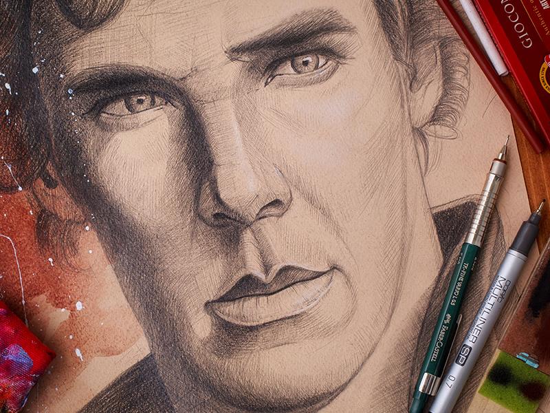 Sherlock (art portfolio) art paper sketch pencil texture portfolio eyes character