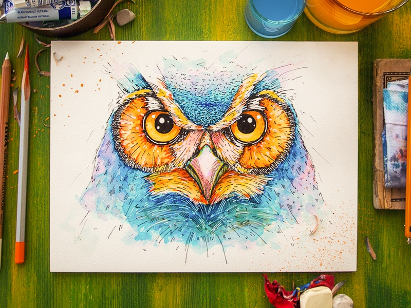 Owl illustration character sketch watercolor wood feather pencil water paper texture owl bird
