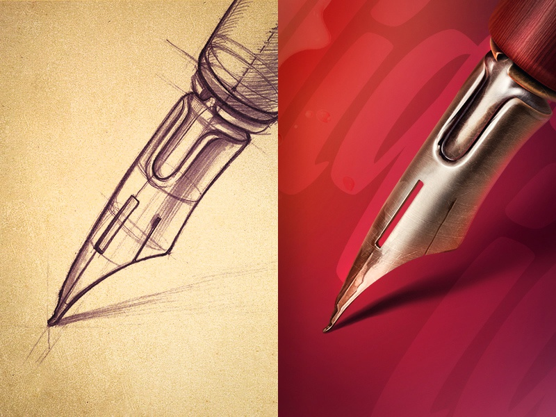 Calligraphy pen ink sketch texture illustration icon paper lettering calligraphy metal wood vintage