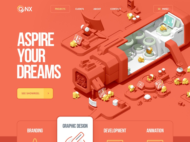 QNX / Web design  / 3D logo typogaphy ui ux game character flat 2d 3d vector icon illustration design web