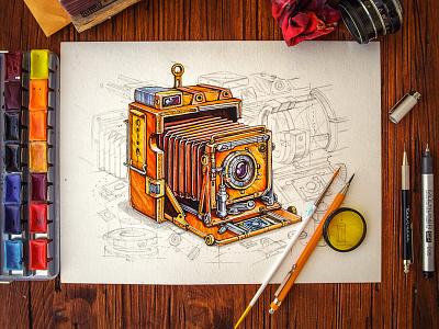 Steampunk camera instagram wood table pencil steampunk paper vintage illustration sketch cam lens