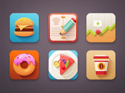 Icon set set icon pencil book food stock iconset flat clean simple minimal metro