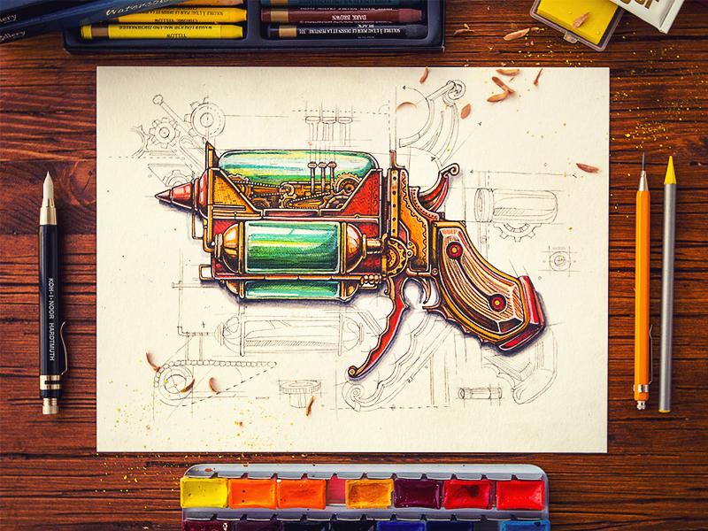 Steampunk gun steampunk paper illustration metal glas pistol wood pencil sketch vintage texture