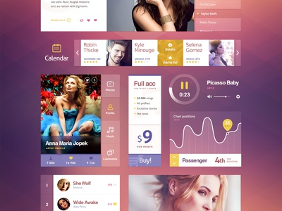 Ui Kit (Music) button navigation ui flat metro clean data graph web design menu site
