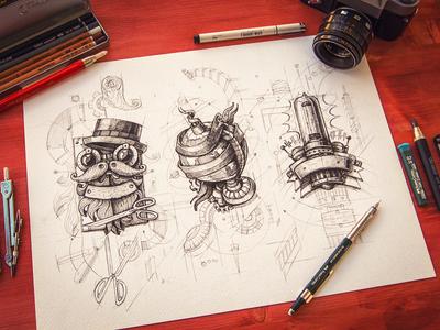 Steampunk logos