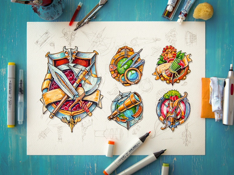 Icons icon illustration game sketch pencil wood paper metal sword