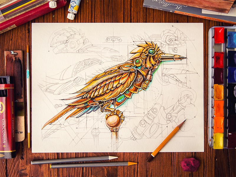 steampunk bird by mike creative mints dribbble