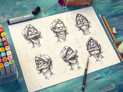 Antonio (character) concept game character sketch pencil wood emotion smile face illustration